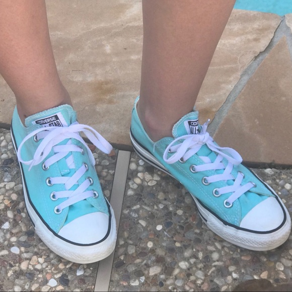 64f84bdebe29 Converse Shoes - 🌧 Tiffany blue low top Converse- women s 7 🌧